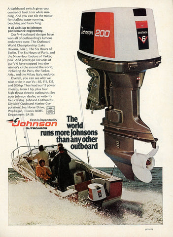 1970's Johnson Outboard Motor Advertisement - Gift For Fisherman - Man Cave Wall Hanging