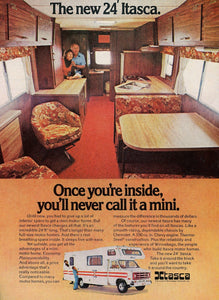1970's Itasca Mini RV Advertisement - Vintage Camp Wall Decor - Mad Man Advertising Era