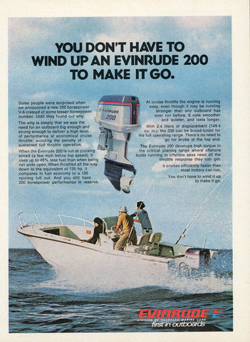 1970's Evinrude Outboard Motors Advertisement - Vintage Fisherman Gift Art - Lake House Wall Hanging