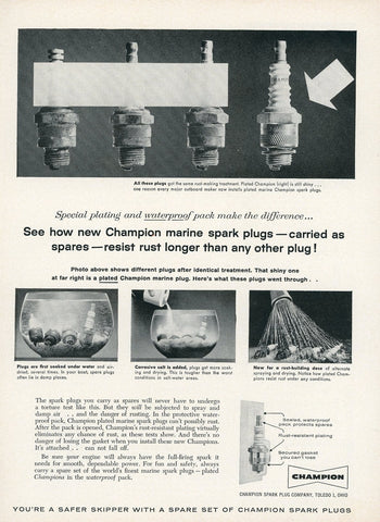 1940's Champion Spark Plugs Advertisement - Vintage Collectable Item - Car Enthusiast Gift