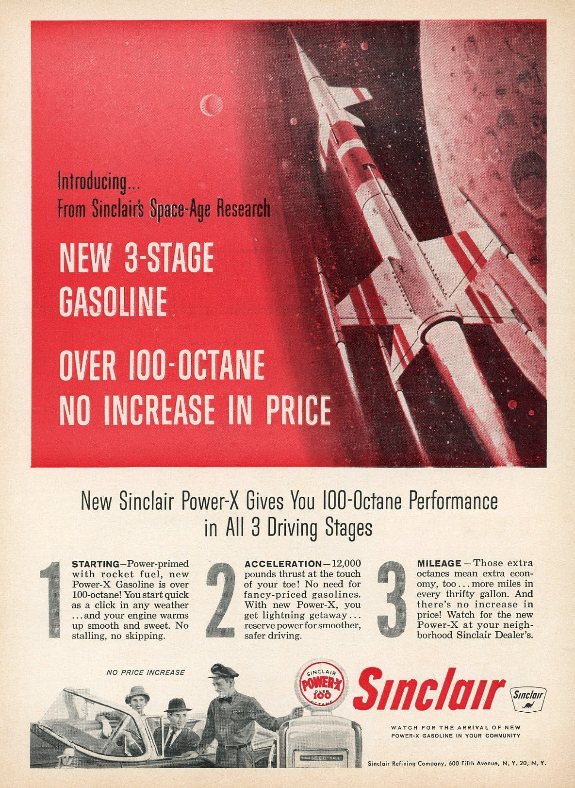 1940's Sinclair Power-X Gasoline Advertisement - Transportation Wall Decor - Gift For Him