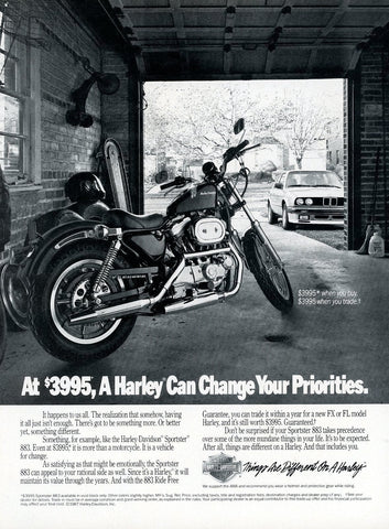 1980's Harley Davidson Motorcycle Advertisement - Gift For Motorcyclist - Man Cave Wall Hanging