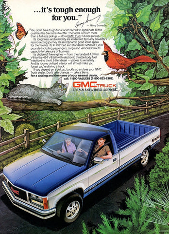 1980's GMC Truck Advertisement - Man Cave Wall Hanging - Vintage Transportation Ad