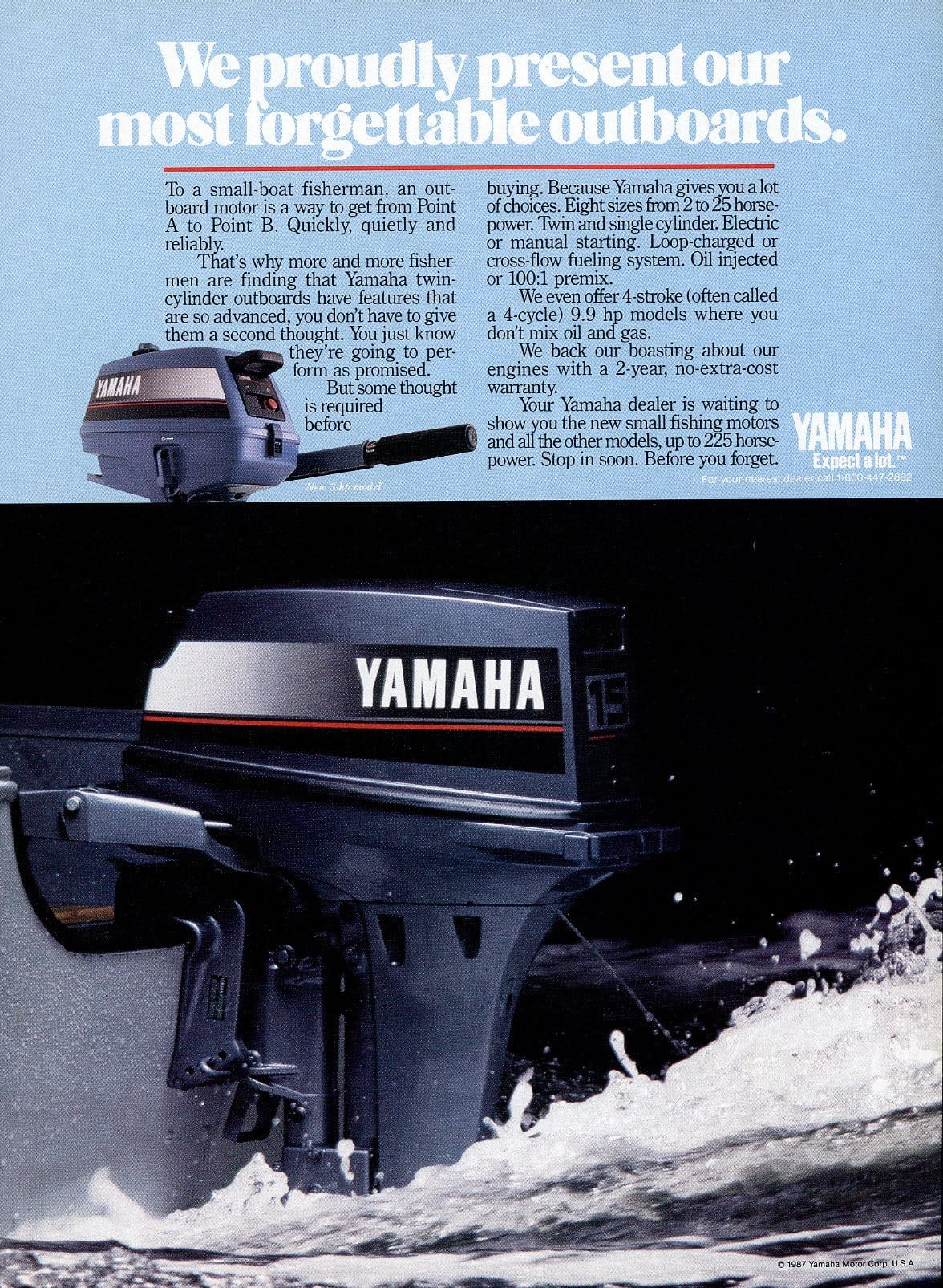 1980's Yamaha Outboard Motor Advertisement - Boating Enthusiast Gift - Watersport Wall Decor