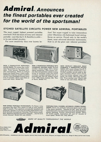 1950's Admiral Mini Portable Electronics Advertisement - Gift For Collectors - Man Cave Wall Hanging