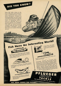 1940's Pflueger Fishing Tackle Advertisement - Gift For Fisherman - Antique Cabin Decoration