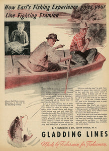 1940's Gladding Fishing Lines Advertisement - Vintage Fisherman Gift - Living Room Decor