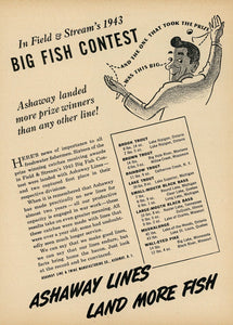 1940's Ashaway Fishing Line Advertisement - Vintage Fishing Decor - Summer Camp Wall Art