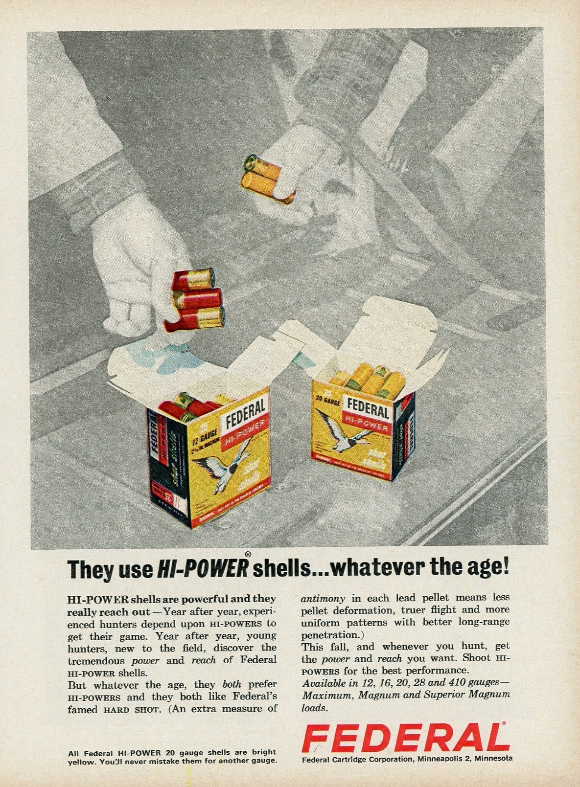 1960's Federal Hi-Power Shotgun Shells Advertisement - Gift For Hunter - Mad Men Era