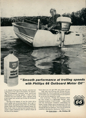 1960's Phillips 66 Outboard Motor Oil Advertisement - Vintage Fisherman Gift - Man Cave Wall Decor