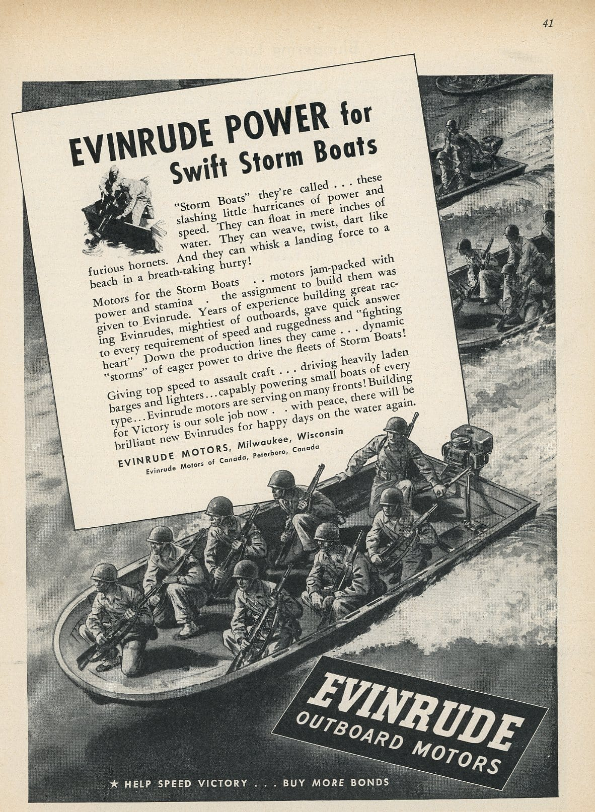 1960's Evinrude Outboard Motor Advertisement - Boat Enthusiast Gift Art - Man Cave Wall Hanging