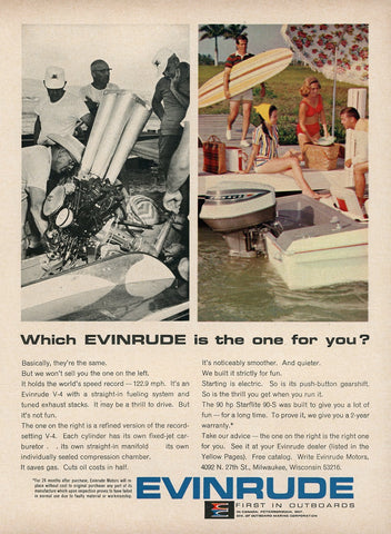 1960's Evinrude Outboard Motor Advertisement - Boat Lover Gift - Living Room Decoration