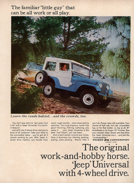 1960's Jeep Universal Advertisement - Man Cave Wall Hanging - Gift For Him - Vintage 4WD Vehicle