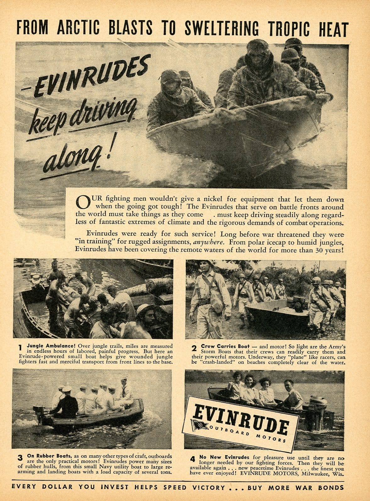 1940's Evinrude Outboard Motors Advertisement - Vintage Boat Design - Watersport Lover Gift