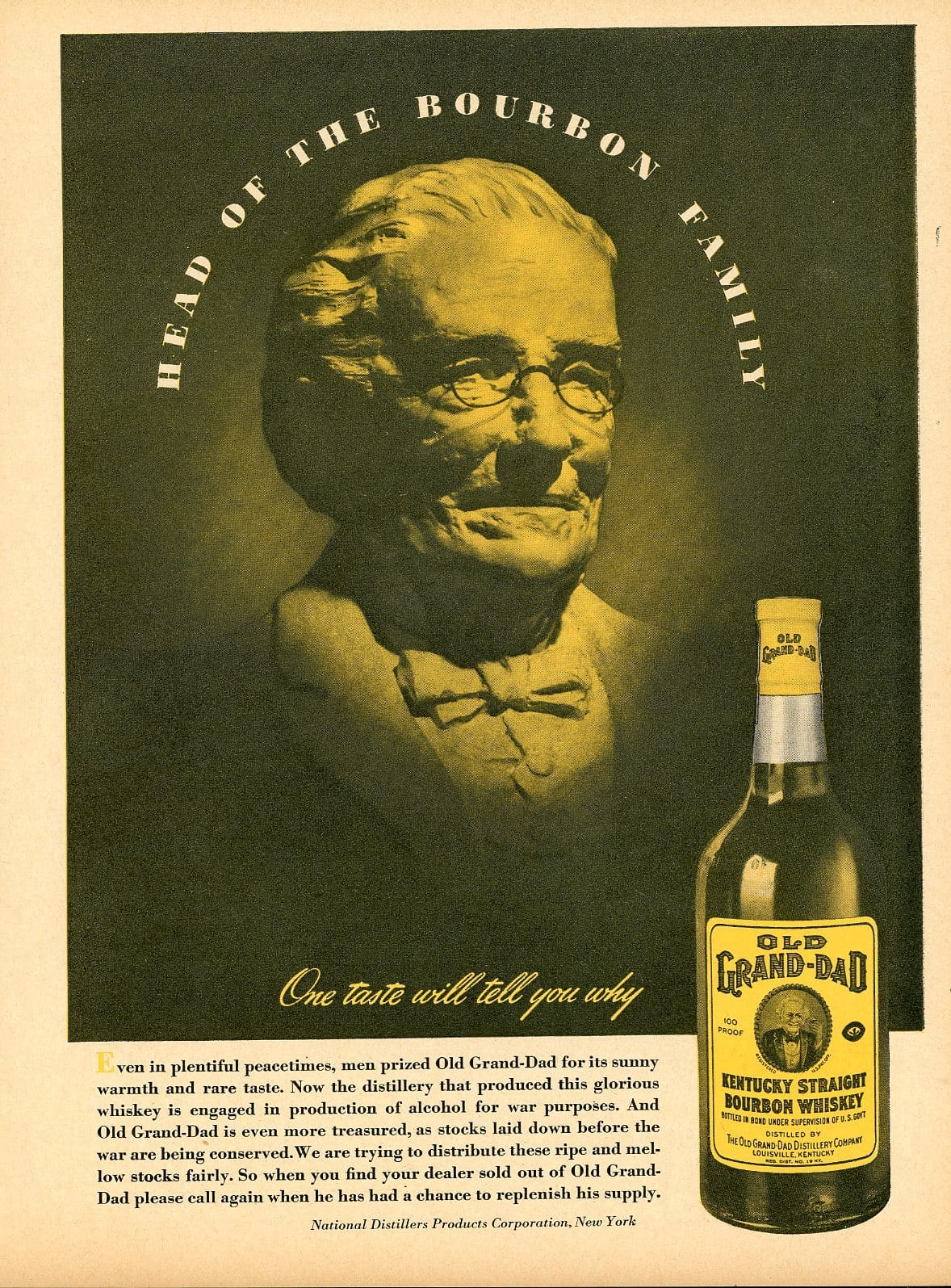 1940's Old Grand-Dad Bourbon Whiskey Advertisement - Bar Room Decor - Antique Liquor Print Ad
