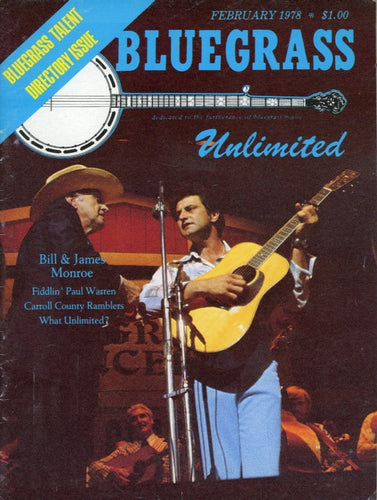 Bluegrass Unlimited Magazine Back Issue - February 1978