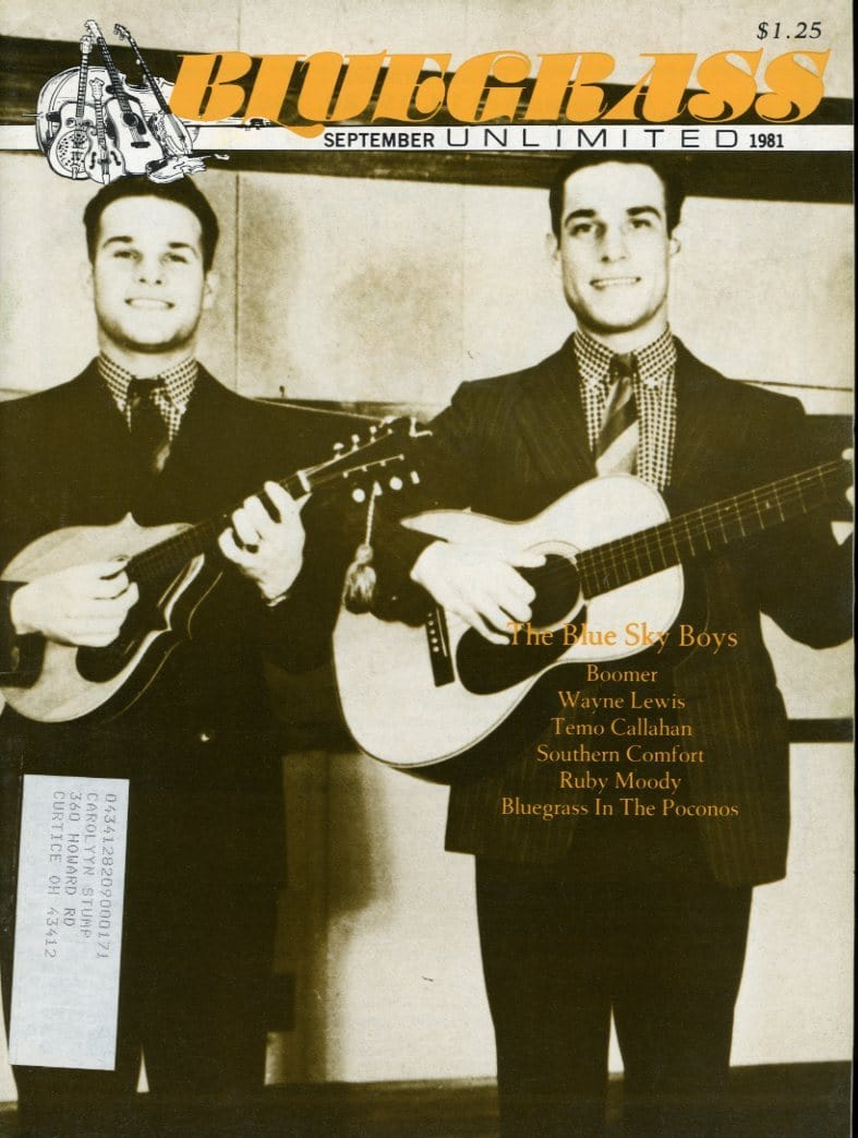 Bluegrass Unlimited Magazine Back Issue - September 1981