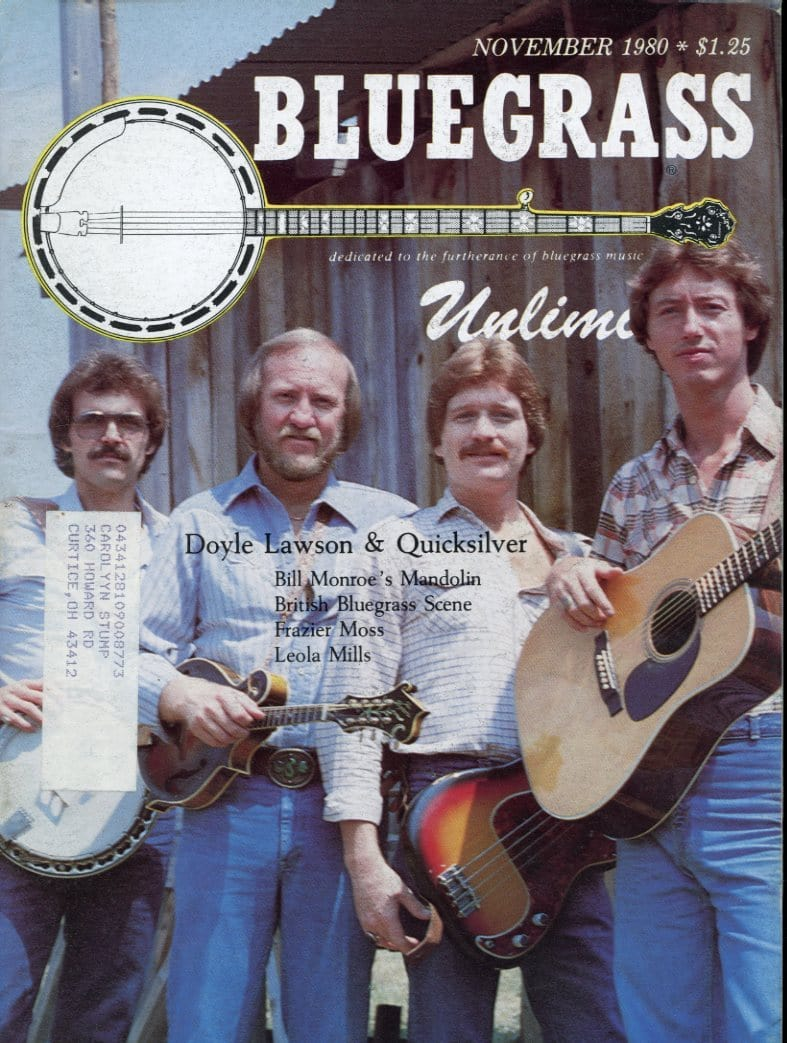 Bluegrass Unlimited Magazine Back Issue - November 1980