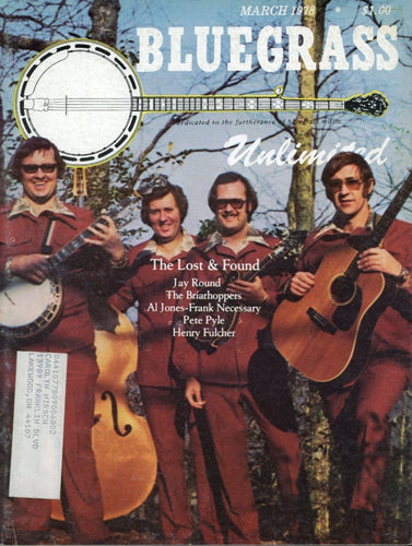 Bluegrass Unlimited Magazine Back Issue - March 1978