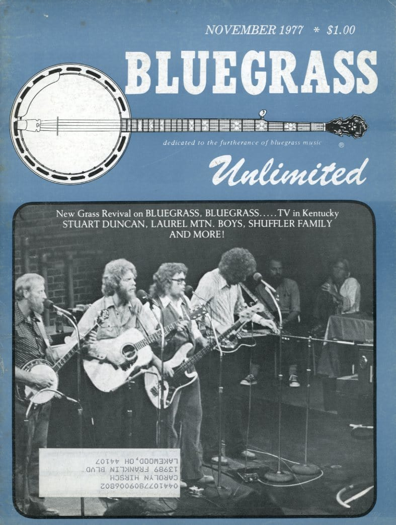 Bluegrass Unlimited Magazine Back Issue - November 1977
