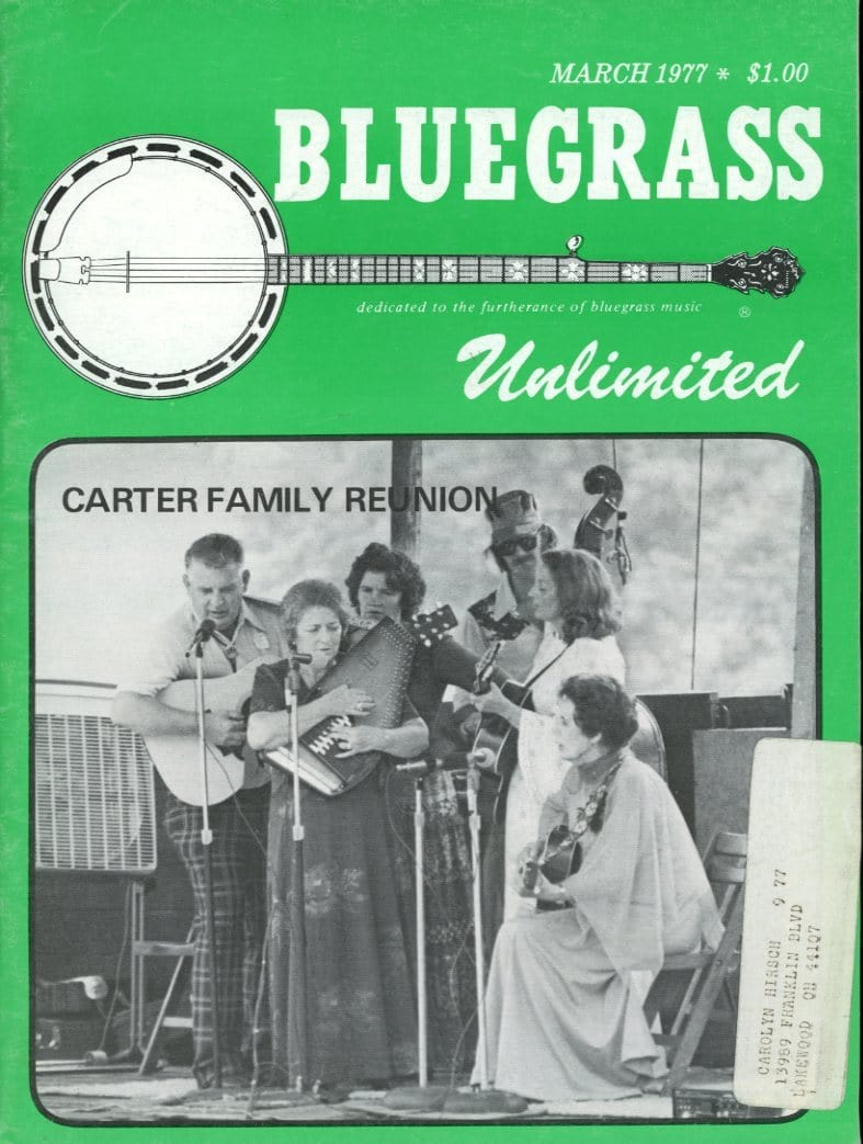 Bluegrass Unlimited Magazine Back Issue - March 1977