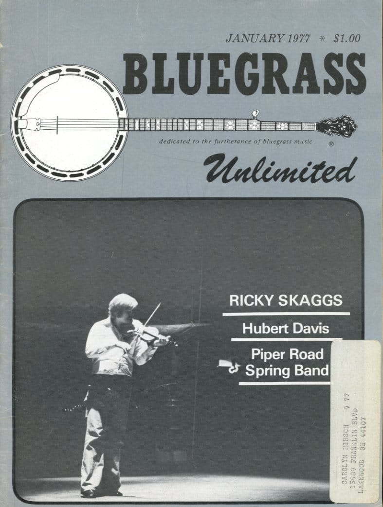 Bluegrass Unlimited Magazine Back Issue - January 1977