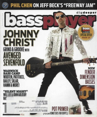 Bass Player Magazine Back Issue - December 2013 - Johnny Christ Memorabilia