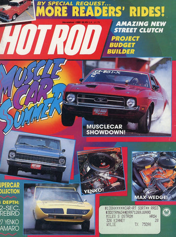 Hot Rod November 1989 Magazine Back Issue - Vintage Car Enthusiast Gift - Ford Mustang Memorabilia