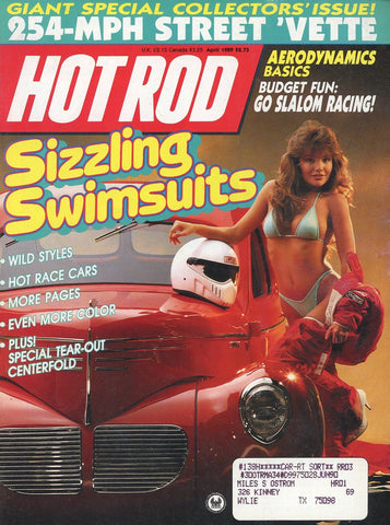 Hot Rod April 1989 Magazine Back Issue - Vintage Car Enthusiast Gift - Race Car Memorabilia