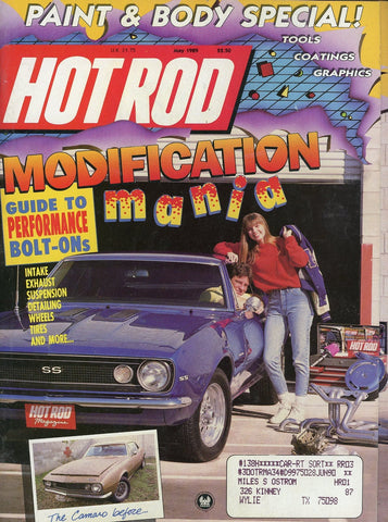 Hot Rod May 1989 Magazine Back Issue - Vintage Car Enthusiast Gift - Camaro Car Memorabilia