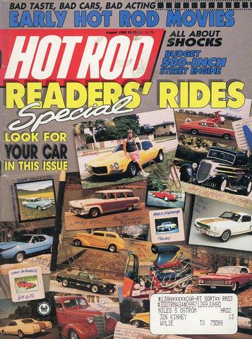 Hot Rod August 1989 Magazine Back Issue - Vintage Car Enthusiast Gift