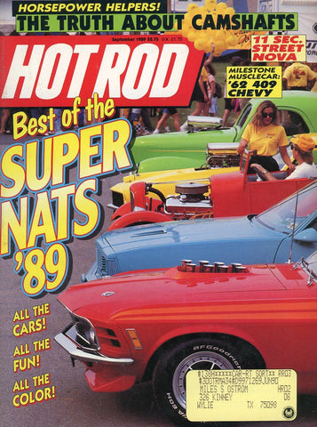 Hot Rod September 1989 Magazine Back Issue - Vintage Car Enthusiast Gift - Chevy Muscle Car Memorabilia