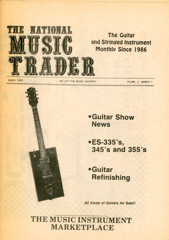 The National Music Trader March 1989 Magazine Back Issue - Vintage Music Memorabilia - Electric Guitar Memorabilia
