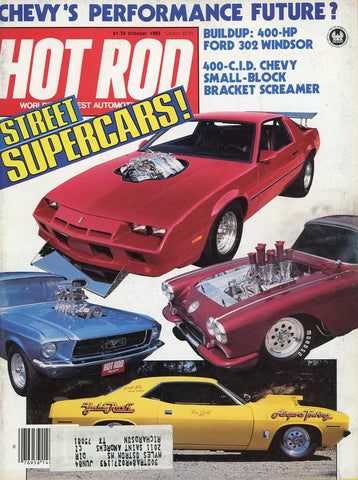 Hot Rod October 1983 Magazine Back Issue - Vintage Car Enthusiast Gift - Chevy Memorabilia