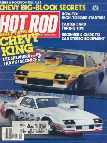 Hot Rod November 1983 Magazine Back Issue - Vintage Car Enthusiast Gift - Chevy Memorabilia
