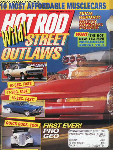Hot Rod February 1991 Magazine Back Issue - Vintage Car Enthusiast Gift - Muscle Car Memorabilia
