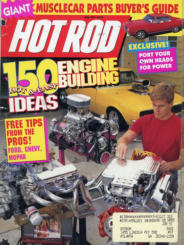 Hot Rod May 1991 Magazine Back Issue - Vintage Car Enthusiast Gift - Muscle Car Memorabilia
