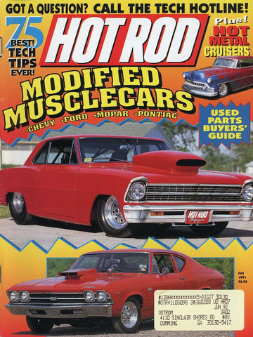 Hot Rod July 1991 Magazine Back Issue - Vintage Car Enthusiast Gift - Muscle Car Memorabilia