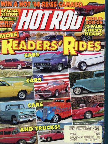 Hot Rod August 1991 Magazine Back Issue - Vintage Car Enthusiast Gift - Camaro Memorabilia