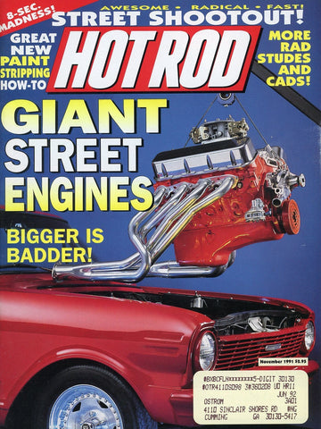 Hot Rod November 1991 Magazine Back Issue - Vintage Car Enthusiast Gift - Automobile Memorabilia