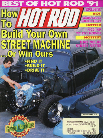 Hot Rod December 1991 Magazine Back Issue - Vintage Car Enthusiast Gift - Automobile Memorabilia
