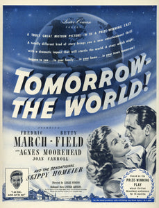 1945 Tomorrow - The World! Movie Advertisement - Movie Theater Decor - Classic Movie Ad