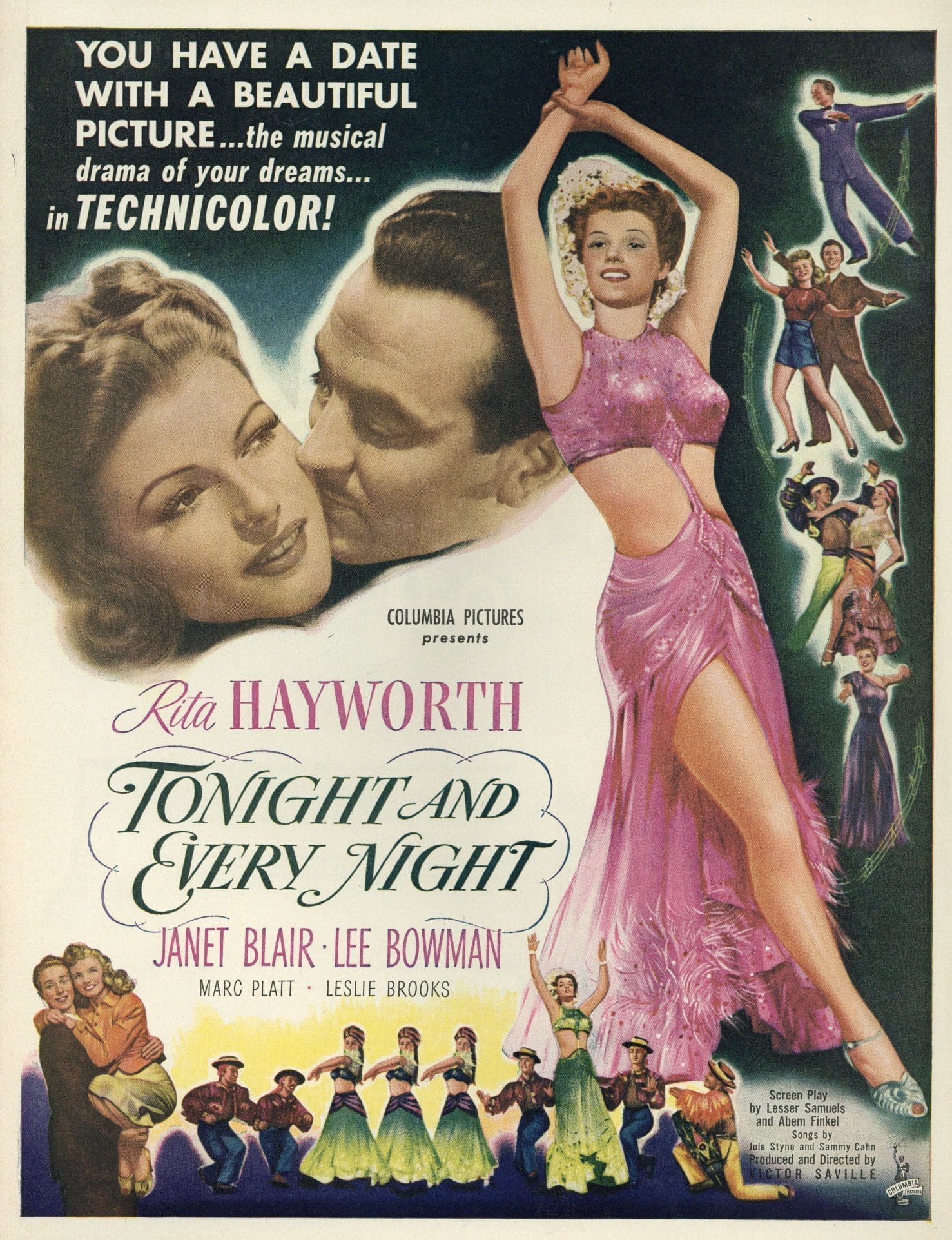Tonight And Every Night 1945 Movie Advertisement - Rita Hayworth Memorabilia - Classic Movie Ad