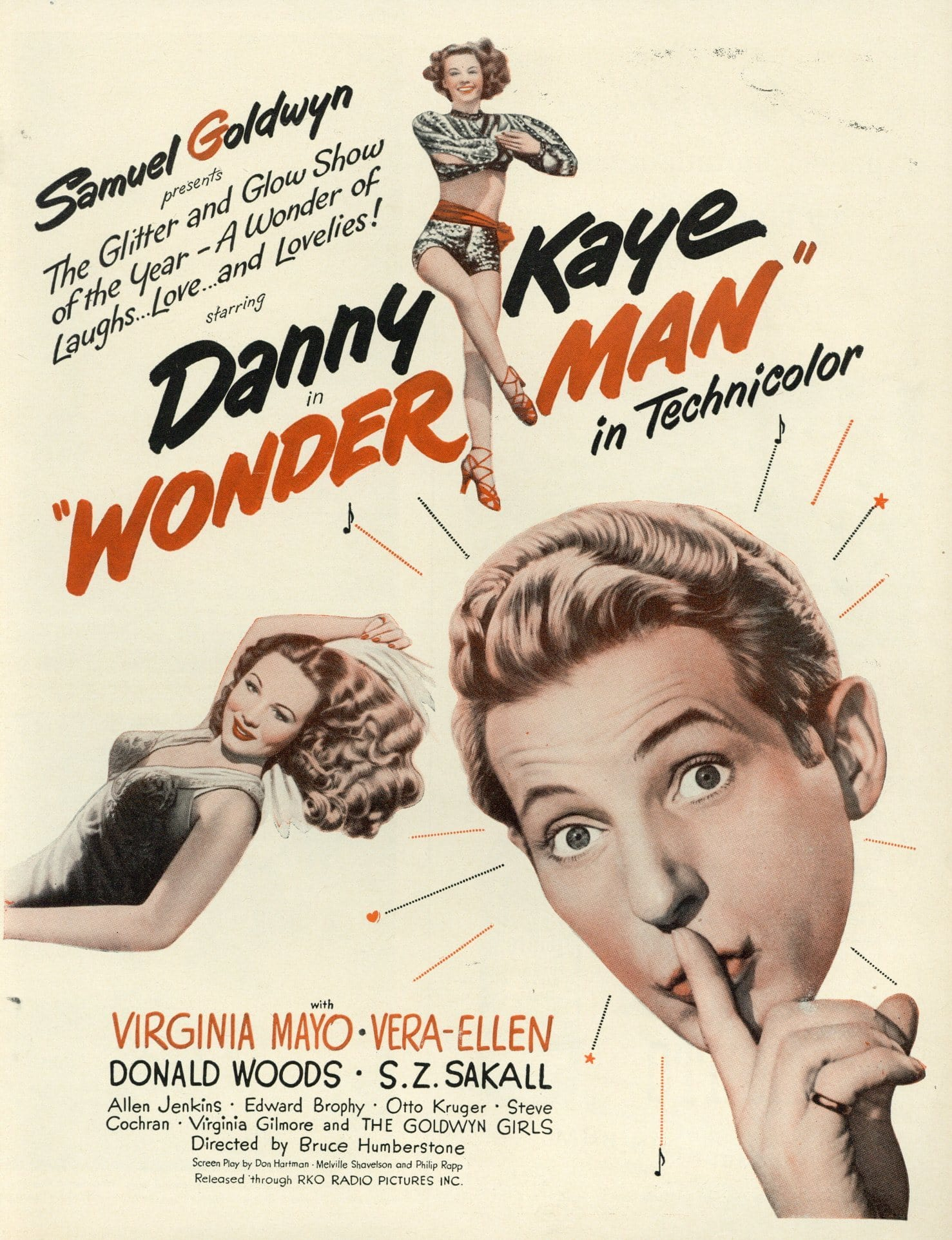 Wonder Man 1945 Movie Advertisement - Danny Kaye Memorabilia - Home Theater Wall Hanging