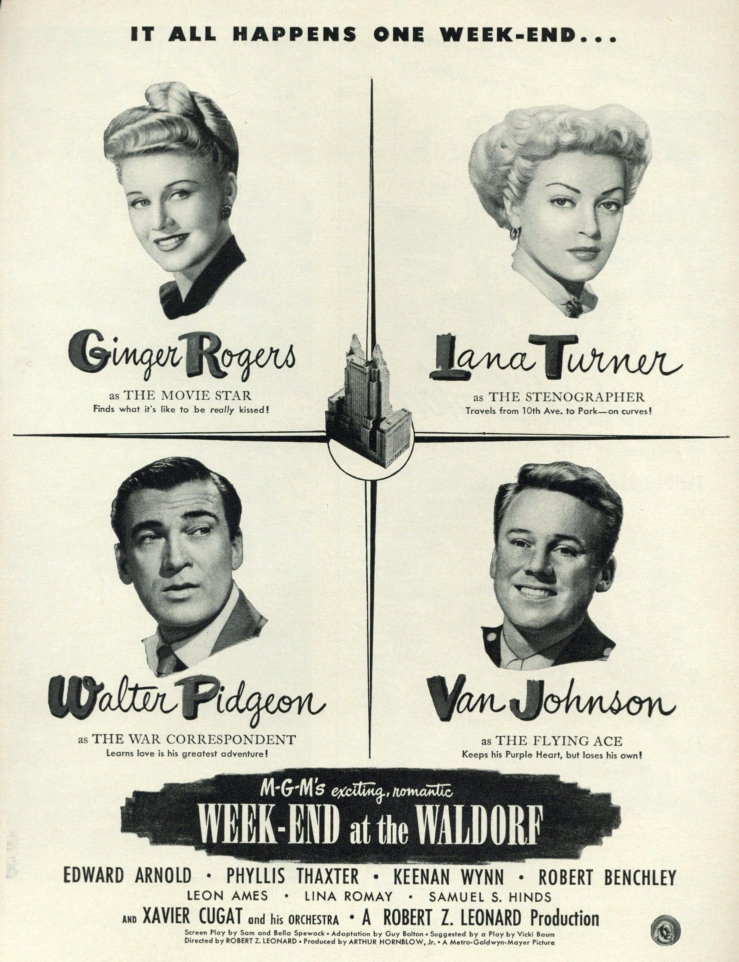 Week-End At The Waldorf 1945 Movie Advertisement - Romantic Movie Wall Art