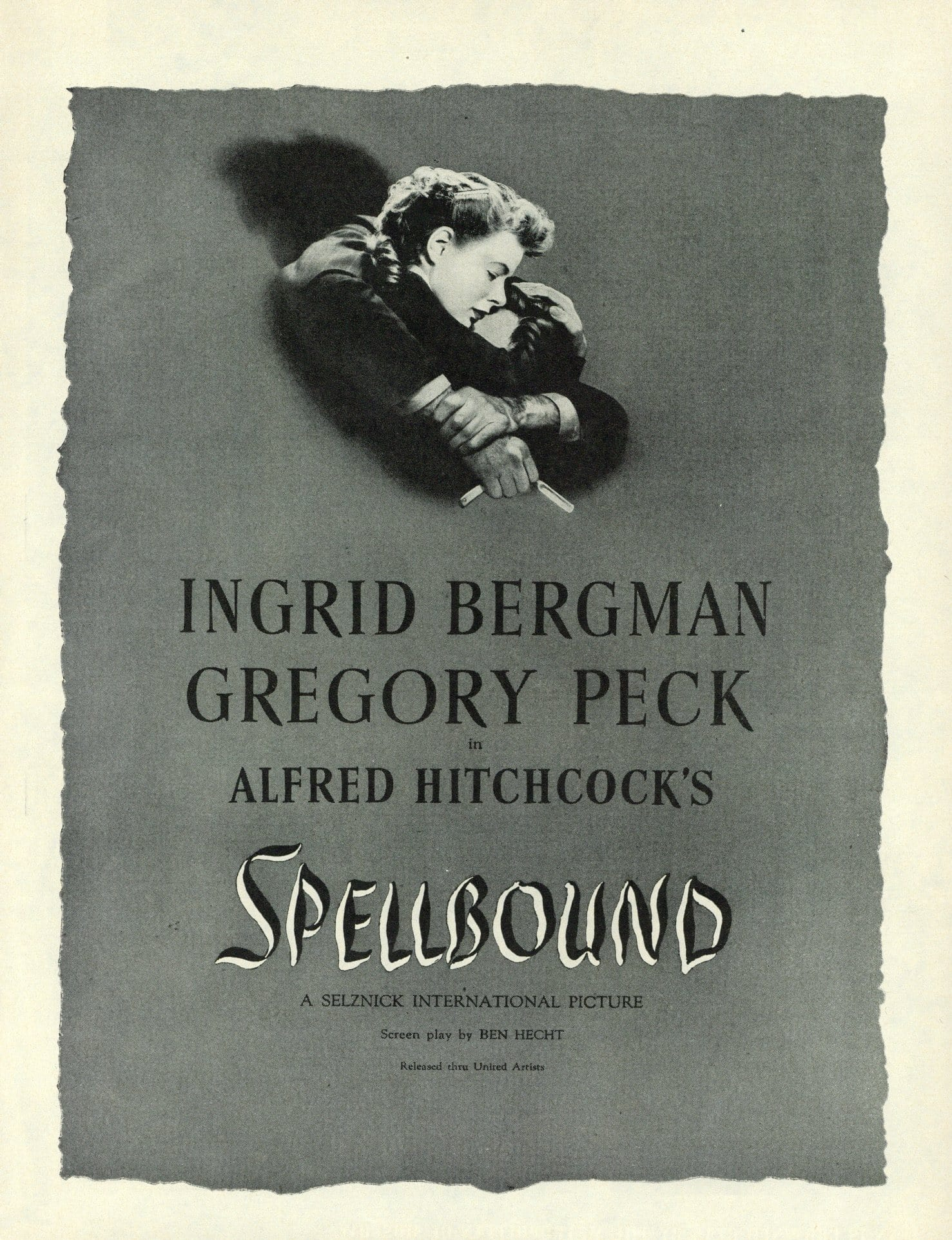 Alfred Hitchcock's Spellbound Movie Advertisement - Ingrid Bergman Memorabilia