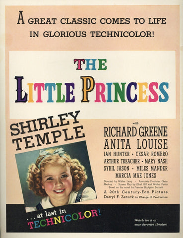 The Little Princess Movie Advertisement - Vintage Movie Memorabilia - Shirley Temple