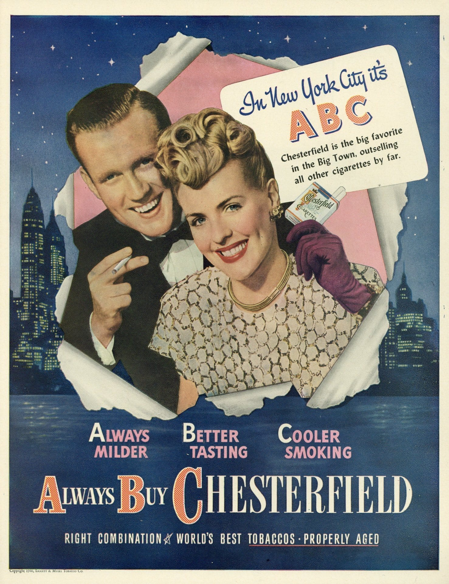 Chesterfield Cigarette Advertisement - Living Room Decoration - 1940's Print Ad