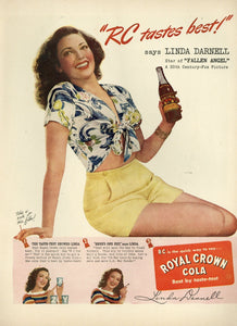 Royal Crown Cola Advertisement - Vintage Soda Pop - Linda Darnell - 1940's Print Ad