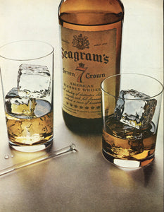 Seagram's Whiskey Advertisement - Bar Room Decoration - 1960's Print Ad